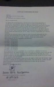 CARTA de compromiso san lorenzo